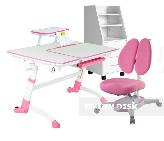 Комплект парта FunDesk Amare + кресло Primavera II + полка SS16 + тумбочка SS15