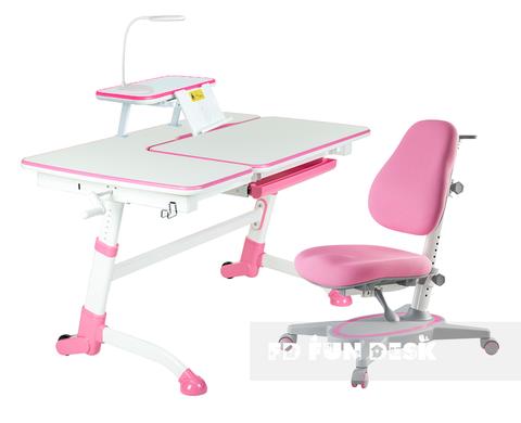 Комплект парта FunDesk Amare + кресло Primavera I + полка SS16 + лампа L5 + накладка SS19