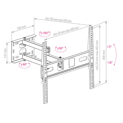 Настенный кронштейн для LED/LCD телевизоров PT-15