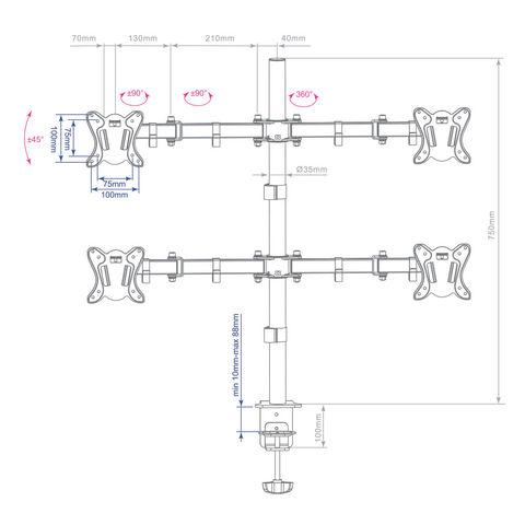 Настольный кронштейн для четырёх мониторов LCD-T14
