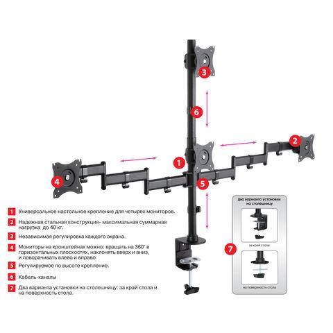 Настольный кронштейн для четырёх мониторов LCD-T16