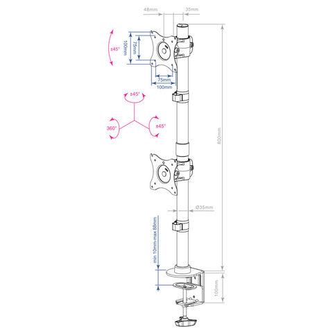 Настольный кронштейн для двух мониторов LCD-T43