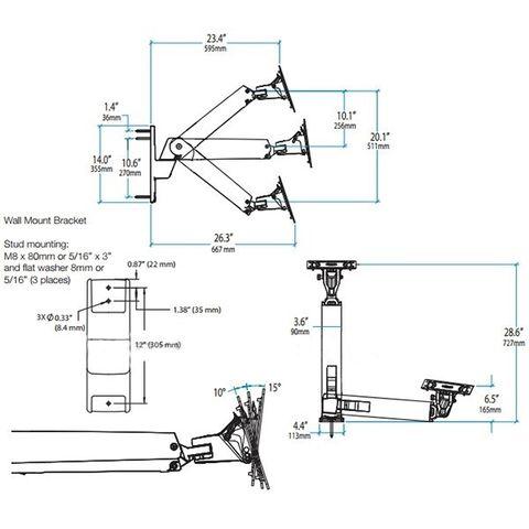 Настенный поворотно-наклонный кронштейн Ergotron Interactive Arm VHD 45-304-026