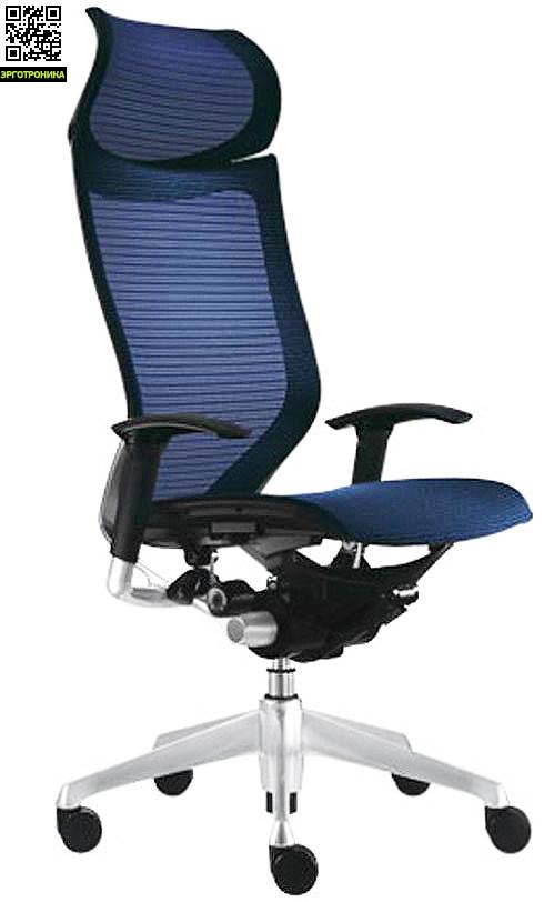 Кресло Okamura CP Корпус матовый, Сетка темно-синяя