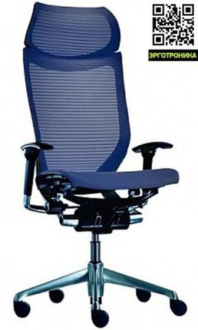 Кресло Okamura CP Корпус полированный, Сетка темно-синяя